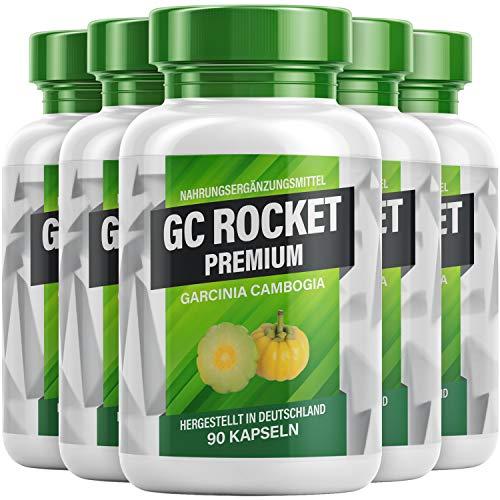 GC Rocket Premium - Cápsulas Garcinia Cambogia para hombres y mujeres, 90 cápsulas por lata (5 latas)