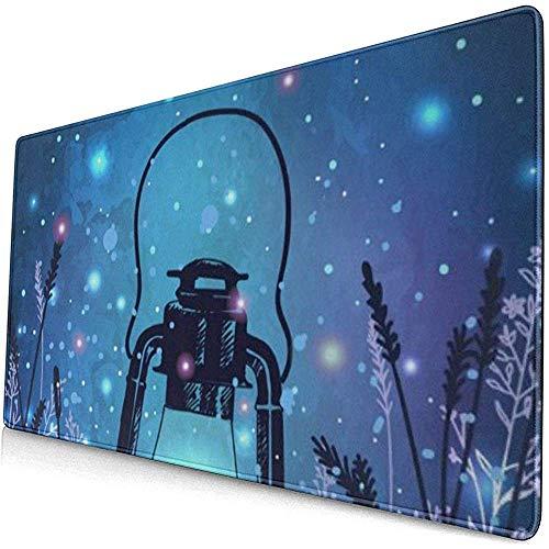 Gaming Extended Mouse Pads Vintage Laterne auf Gras mit magischen Glühwürmchen am Nachthimmel 30X80 cm