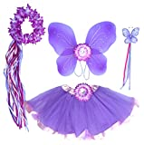 Enchantly Fairy Costume - Fairy Wings for Girls - Butterfly Costume for Girls - Lavender Wings, Wand, Halo and Tutu