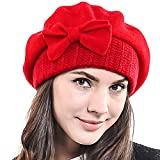 Lady French Beret 100% Wool Beret Chic Beanie Winter Hat HY022, Red, M