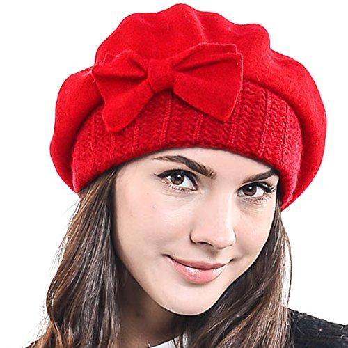 HISSHE HISSHE Frauen Barette 100% Wolle Baskenmützen Schicke Winter Mütze HY022 (Rot)