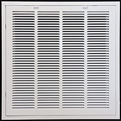 """24"""" X 24"""" Steel Return Air Filter Grille for 1"""" Filter - Removable Face/Door - HVAC Duct Cover - Flat Stamped Face - [Outer Dimensions: 26.5 X 25.75]"""