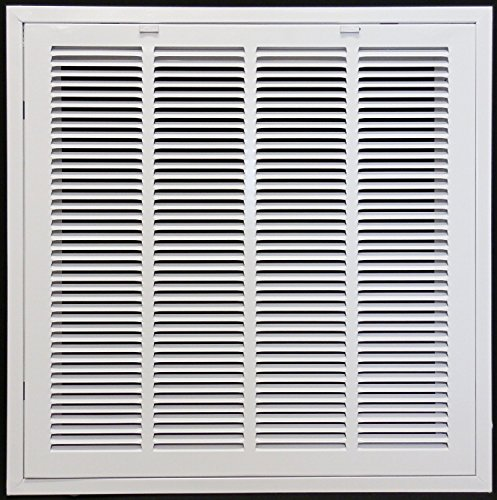 24' X 24' Steel Return Air Filter Grille for 1' Filter - Removable Face/Door - HVAC Duct Cover - Flat Stamped Face - White [Outer Dimensions: 26.5 X 25.75]