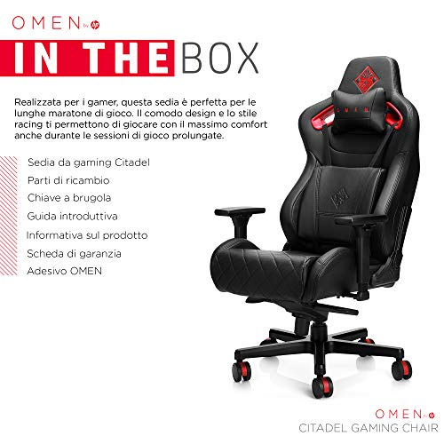 Hp - Gaming Omen By Citadel Gaming Chair Sedia, Braccioli Regolabili 4D, Cuscini Lombari, Supporto per il Collo, Nero