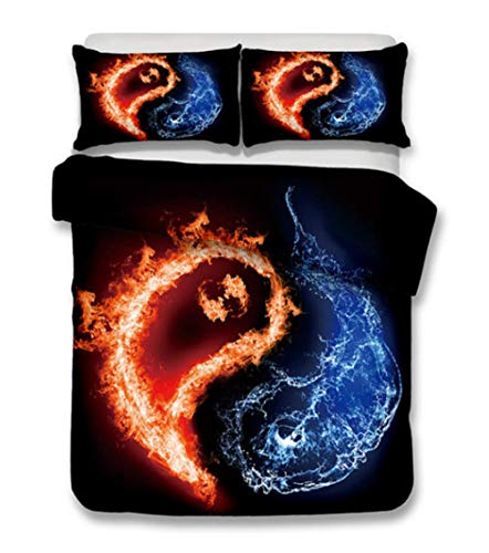 AIKIBELL 3D bedding-digital printing-ice fire tai chi-bedding set-duvet cover+pillow cover 2-3 bed cover-teenage-Christmas gift-200×230cm