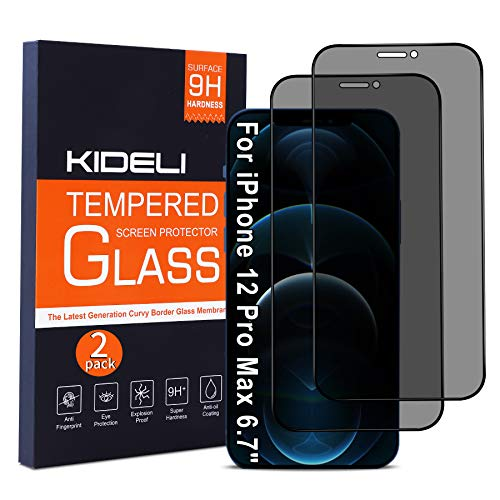 KIDELI Privacy Screen Protector Compatible with iPhone 12 Pro Max 6.7 Inch Full Coverage Anti-Spy Tempered Glass Film Anti-Scratch Case Friendly (2 Pack)