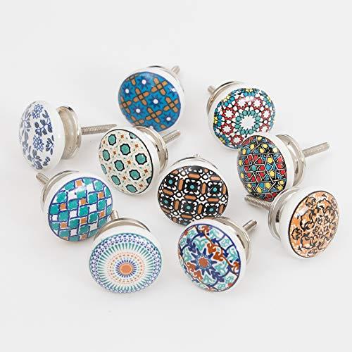 Knober Set 10 Stück Möbelknopf Mosaik Muster Bedruckt geschlossen Möbelgriffe Shabby-Chic Vintage 40mm