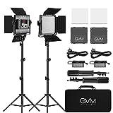 GVM 2 Pack 480 éclairage vidéo LED avec trépied, contrôle APP 2300k-6800k Lampe vidéo Bicolore pour la Photographie en Studio et Tournage vidéo, lumière vidéo LED