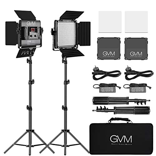 GVM LED Videolicht mit Stativ, APP-Steuerung LED Fotografie zweifarbig 2300K-6800K LED Fotolicht, Studio LED Licht für YouTube Fotostudio, Videoaufnahme led Video Panel, LED Lampe Videobeleuchtung