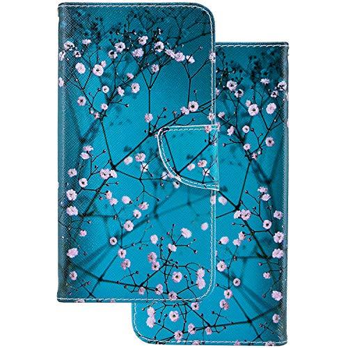 LEMORRY pour Sony Xperia XZ Premium Etui Gaufré Cuir Portefeuille Pochette Protecteur Magnétique Fente Carte Silicone TPU Housse Cover Coque pour Sony XZ Premium, Fleur de Cerisier
