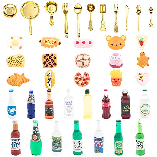 ONEST 41 Pieces Miniature Food Drinks Bottles Dollhouse Play Food Kitchen Play Game Party Toys Doll Toys Dollhouse Toys, Tableware Food and Drinks