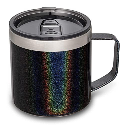 Lafaso 14oz Coffee Mug with Handle, Vacuum Insulated Coffee Mug with Lid, Double Wall Stainless Steel Travel Tumbler Mug (Glitter Black 1 Pack)
