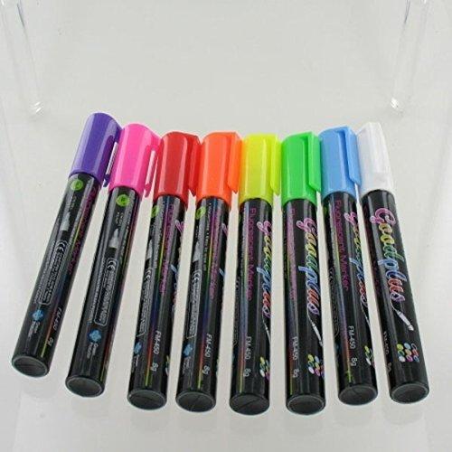 8 Rotuladores fluorescentes Pizarras LED luminosas, RGB, acrílicas