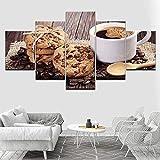 N-R Arte de Pared de Cocina 5 Paneles Taza de café Postre Galletas Lienzo Arte Casa Decoración Moderna Listo para Colgar Carteles e Impresiones (60 x 32 Pulgadas Enmarcado)