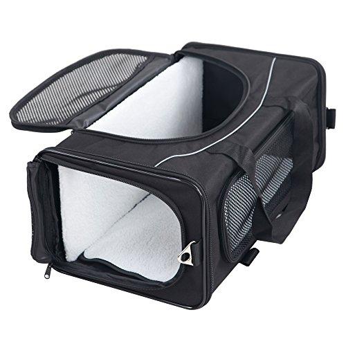 Petsfit Hundebox faltbar Transportbox Katze Hund Transporttasche Tragetasche für Auto und Flugzeug geeignet,Zwei Platzierung-Methode,47cm x 24cm x 31cm