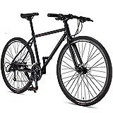 ZHIPENG Bici da Uomo 27 Pollici City Commuter Bike, 27 velocità, Bici Ibrida da Donna in Alluminio Full Suspension,Nero