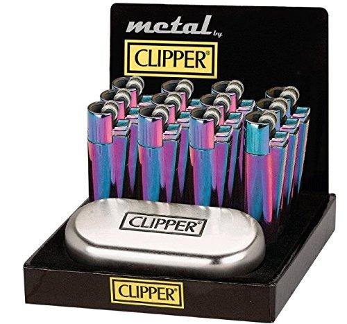Auténtica Rainbow Metal Metálico Clipper Mechero cromado con funda, arco iris