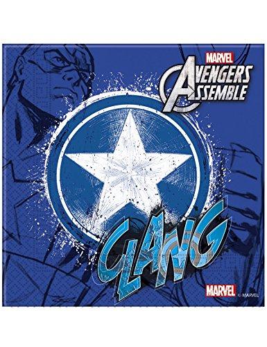 Marvel Les Adolescents, Lot de 20 Serviettes en Papier avec Captain America Avengers Assemble