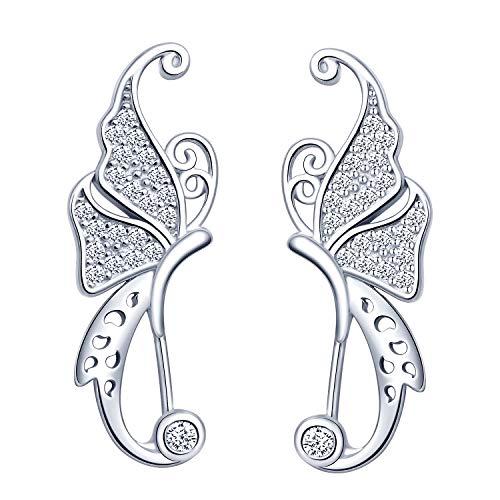 Yumilok Pendientes de Mariposa para Mujer Niña, en Plata 925, Clip de Oreja de Circón Pendientes de Escalada
