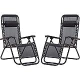 Pack de 2 Tumbonas. Tumbonas plegables y transpirables con reposacabezas para exterior. Sillas reclinables y ajustables para jardín exterior, piscina o terraza. Pack de dos sillas de color negro.