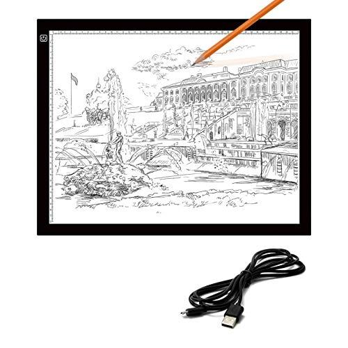 Cskunxia LED A3 Leuchttisch mit 2 m USB-Kabel, einstellbare Helligkeit Augenschutz A3 Light Board Diamond Painting Zubehör zum Malen, Zeichnen, Animieren, Skizzieren