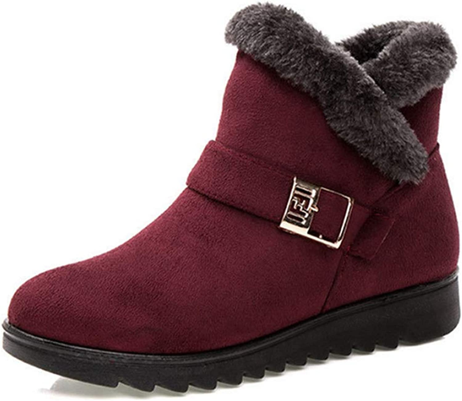 Fay Waters Women Cute Warm Short Boots Fur Chunky Mid Heel Round Toe Winter Snow Ankle Booties