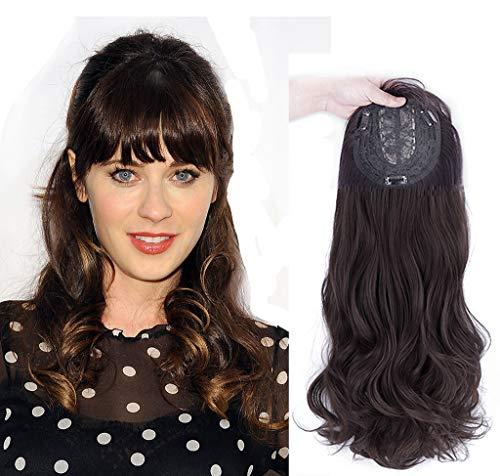 Clip de fixation en cheveux naturels avec frange 3D Marron foncé 50 cm