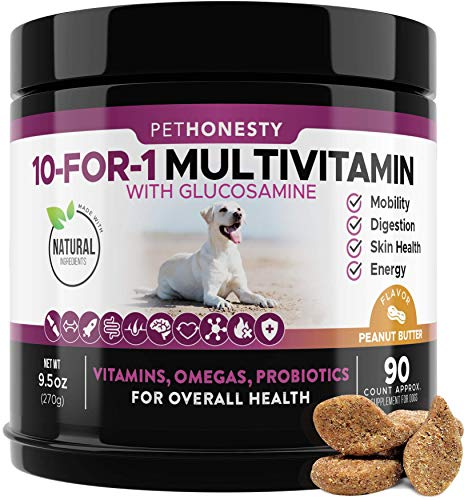 PetHonesty 10 in 1 Dog Multivitamin with Glucosamine - Essential Dog Vitamins with Glucosamine Chondroitin, Probiotics and Omega Fish Oil for Dogs Overall Health - (Peanut Butter)
