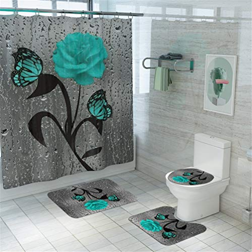 Teal Rose Shower Curtain Set Butterfly Bathroom Curtain with Non-Slip Rug, Toilet Lid Cover and Bath Mat, Rose Shower Curtain with 12 Hooks, Waterproof Raindrops Shower Curtain for Bathroom