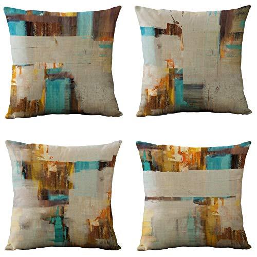 LONLYTISA - Juego de 4 fundas de almohada decorativas geométricas de arpillera para sala de estar, sofá y cama (40 x 40 cm)
