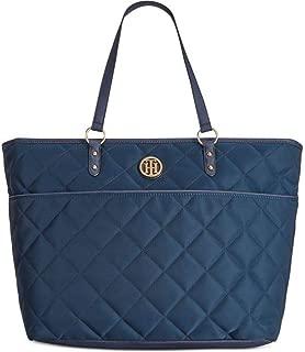 Tommy Hilfiger Quilted Nylon Top Zip Large Shopper Bag Tote Top Handle Handbag