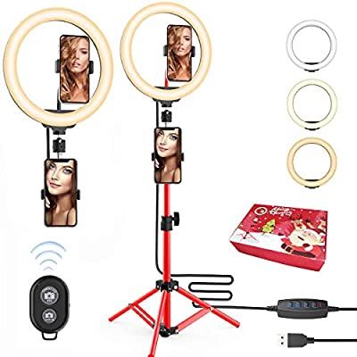 Gift idea 10'' Selfie Ring Light with Red Tripod Stand & Phone Holder for Live Stream/Makeup - Upgraded Dimmable Camera Ring Light for TikTok/YouTube/Makeup/Photography from Shangzhi International