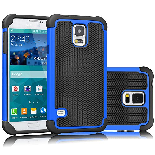 Tekcoo Galaxy S5 Case, [Tmajor] Sturdy [Blue/Black] Shock Absorbing Hybrid Rubber Plastic Impact Defender Rugged Slim Hard Case Cover Bumper for Samsung Galaxy S5 S V I9600 GS5 All Carriers