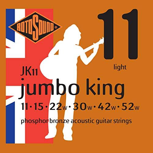 Rotosound JK11 - Juego de cuerdas para guitarra acústica de fósforo/bronce, 11 15 22 30 42 52