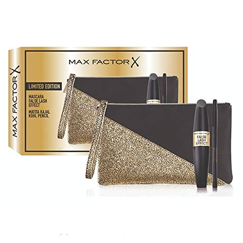 Max Factor - Confezione Regalo - Pochette con Mascara False Lash Effect e Matita Occhi Nera a Lunga Durata Kajal Kohl Pencil