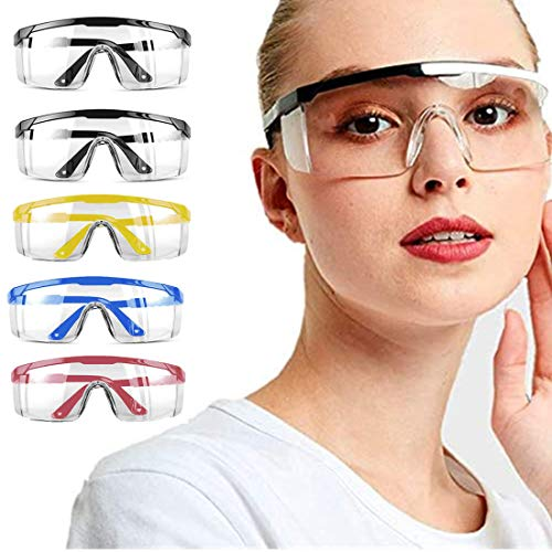 5 PACK Safety Goggles,Over Glasses Eyes Protection Goggles Protective Eyewear Safety Goggles Clear Anti-fog/Anti-Scratch/Splash Safety Glasses Over Prescription Glasses Multiple Colour Set