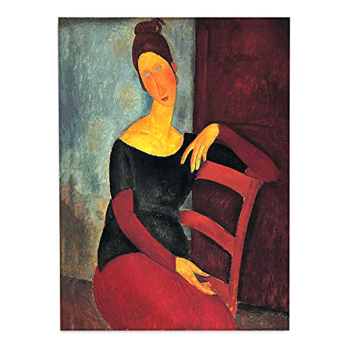 Giallobus - Schilderij - Amedeo Modigliani - Jeanne Hebuterne in de rode stoel - bedrukking op plexiglas acryl - klaar om op te hangen - Diverse formaten - 50x70 cm