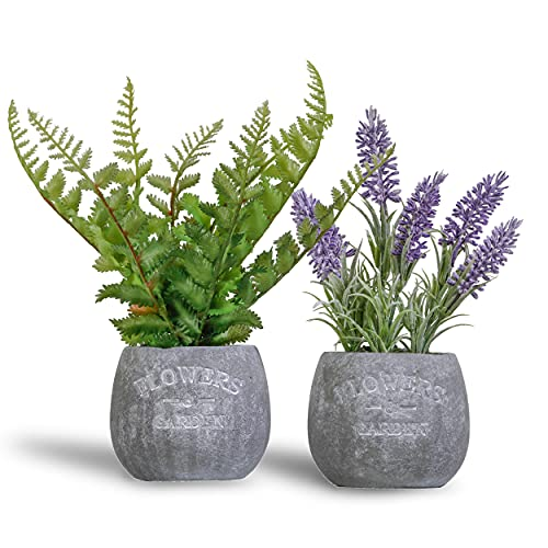 Valery Madelyn Artificial Lavender Plants in Flower Pot, Faux Greenery Plants in Rustic Planter Container, Farmhouse Flower Arrangements Planter for Indoor Outdoor Home Decor