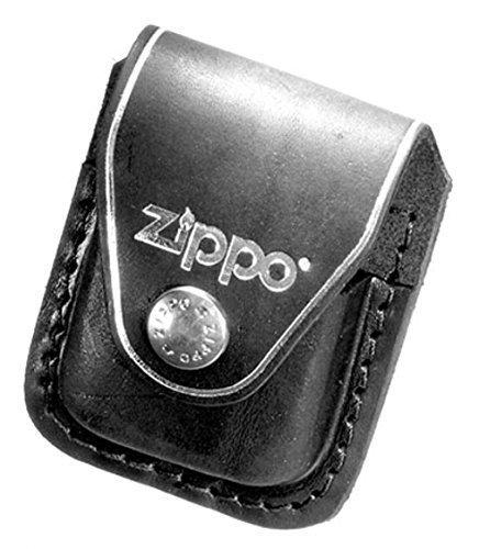 Für das Zippo: Echte Ledertasche in schwarz mit Lasche