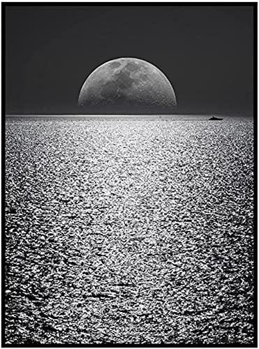 HONGSHUORNM Lienzo Pintura Impresión Póster Carteles de Arte Minimalista Moderno de la Luna de Medianoche y el Mar Negro Navidad Decoración del Hogar 60X90Cm Sin Marco