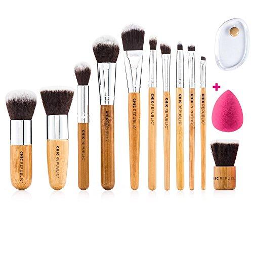 Pinceaux de maquillage en bambou - Ensemble de 11 pièces de qualit&eacute