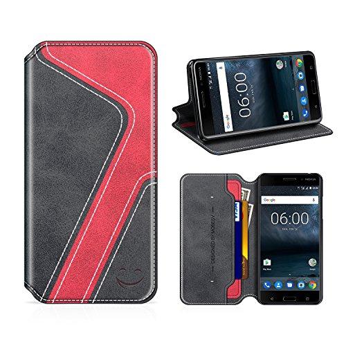 MOBESV Smiley Nokia 6 Hülle Leder, Nokia 6 Tasche Lederhülle/Wallet Hülle/Ledertasche Handyhülle/Schutzhülle mit Kartenfach für Nokia 6, Schwarz/Rot