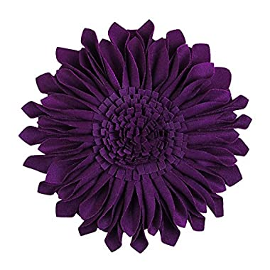 JWH 3D Sun Flower Accent Pillows Hand Crafted Round Cushion Decorative Pillowcases with Insert Home Sofa Bed Living Room Decor Gifts 14 Inch / 35 cm Wool Purple