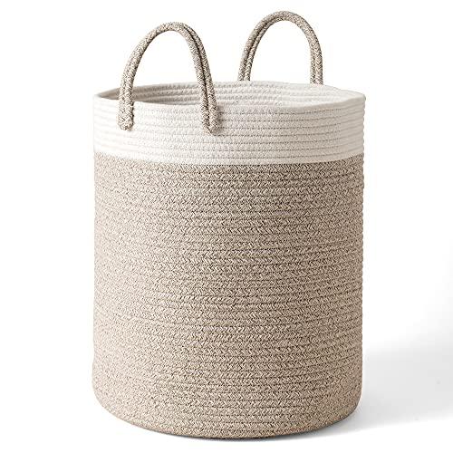 LA JOLIE MUSE Woven Basket Rope Storage Baskets - Tall Cotton Basket 16 x 14 x 14 Inches, Laundry Basket for Blanket, Kids Toy, Nursery Clothes Hamper Basket