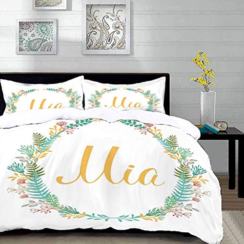 Qoqon bedding - Duvet Cover Set, Mia,Frame of Flowers and Ferns Pattern with Handwriting Calligraphy Design Cursive Alphabet,Mul,Microfibre Duvet Cover Set with 2 Pillowcase 50 X 75cm