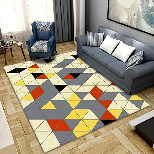 Alfombra de área de dormitorio, 60 x 90 cm, antideslizante, cómoda alfombra para niños, bebé, sala de estar, dormitorio, alfombra de interior, alfombra de jardín (rompecabezas geométrico)