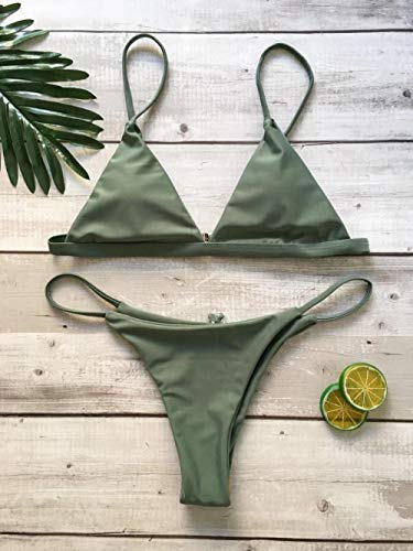 B/H Bañador Bikini Ropa de Baño de Multicolor,Bikini Sexy de Color Liso, Traje de baño de Playa para Mujer-Mint Green_IT,Sexy Mujer Top Bikini Talle Alto
