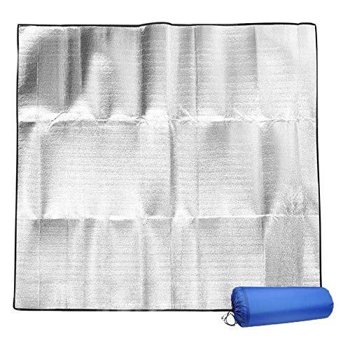 Picknickdecke Stranddecke Strandmatte Wasserdicht, aus doppelseitiger Aluminiumfolie Ideal für Ground Sheet, Pocket Blanket, Stranddecke, Taschendecke, Campingdecke, Sitzunterlage,200 x 200 cm