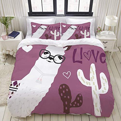 bedding Duvet Cover Set, cute llama cactus love card,Microfibre Duvet Cover Set 200 x 200cm with 2 Pillowcase 50 X 80cm