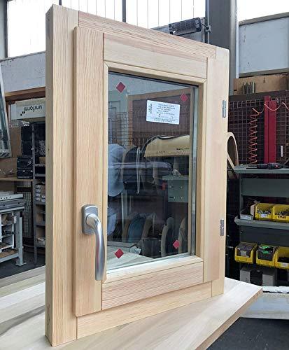 Fenster in rauen Holzfenstern cm L 50 x 70 H – Doppelglas – Griff – gebeizt – zu behandeln: Imprägnierung/Lackierung – in jeder Farbe